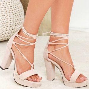Lulus I Slay Strappy Platform Cream Heels 7.5